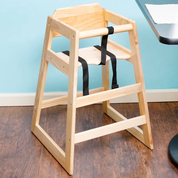 """29 1/4"""" Stacking Restaurant Wood High Chair with Natural Finish - Unassembled"""