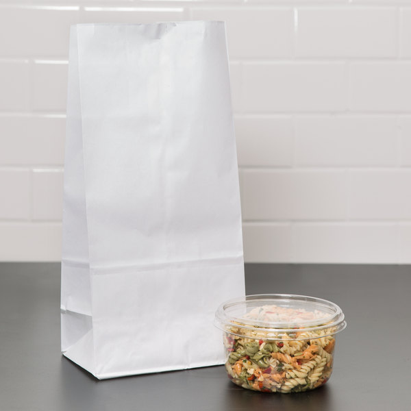 Duro 16 lb. White Paper Bag - 500/Bundle
