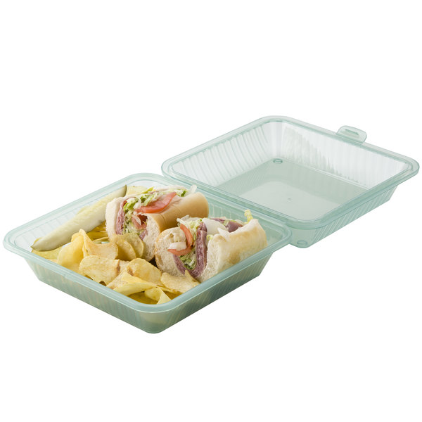 """GET EC-10 9"""" x 9"""" x 3 1/2"""" Jade Green Customizable Reusable Eco-Takeouts Container - 12/Case Main Image 4"""