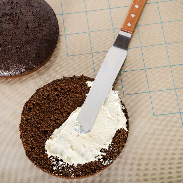 "9 1/2"" Offset Baking / Icing Spatula with Wooden Handle"