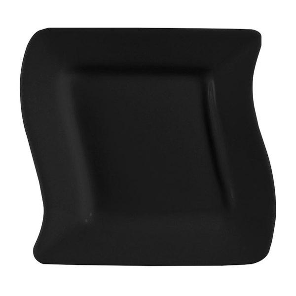 "CAC SOH-6BK Color Soho 6 3/4"" Black Square Stoneware Plate - 36/Case"