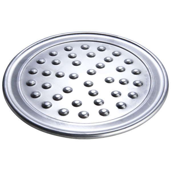 """American Metalcraft NHATP10 10"""" Heavy Weight Aluminum Wide Rim Pizza Pan with Nibs"""