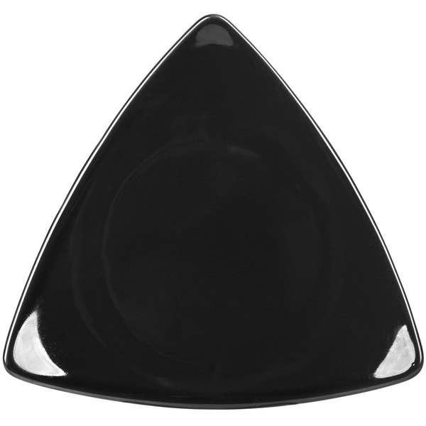 """CAC TRG-23BK Festiware Triangle Flat Plate 12 1/2"""" - Black - 12/Case"""