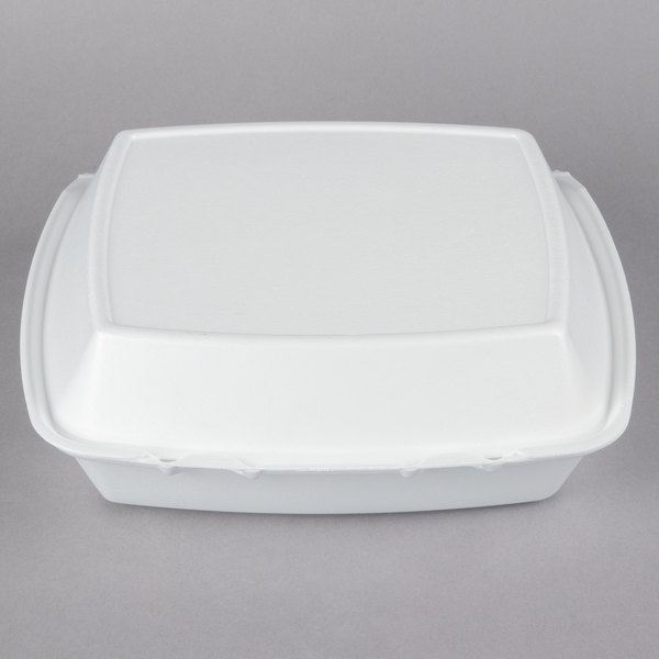 Dart 110HT3 10 inch x 9 1/2 inch x 3 1/2 inch White Foam 3 Compartment Hinged Lid Container  - 200/Case