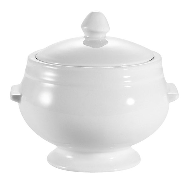CAC LN-12-P1 12 oz. Bright White China Bouillon with Handles - 24/Case Main Image 1