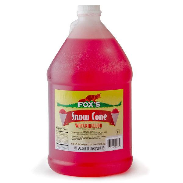Fox's 1 Gallon Watermelon Snow Cone Syrup - 4/Case
