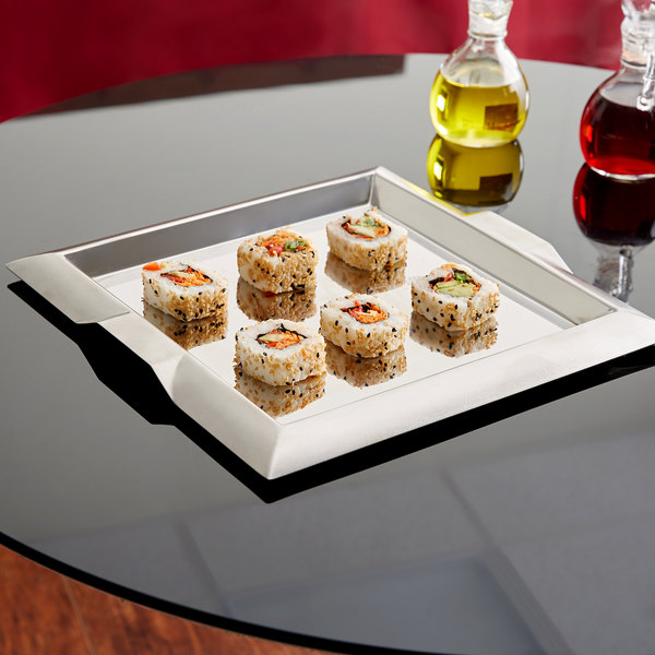 """Vollrath 82090 Square Stainless Steel Serving Tray with Handles - 11 3/4"""" x 11 3/4"""""""