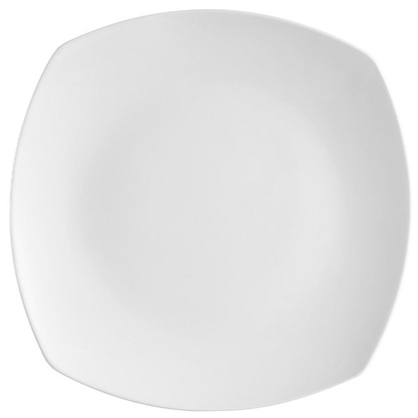 "CAC COP-SQ20 11 1/4"" Coupe Bright White Square Porcelain Plate - 12/Case"