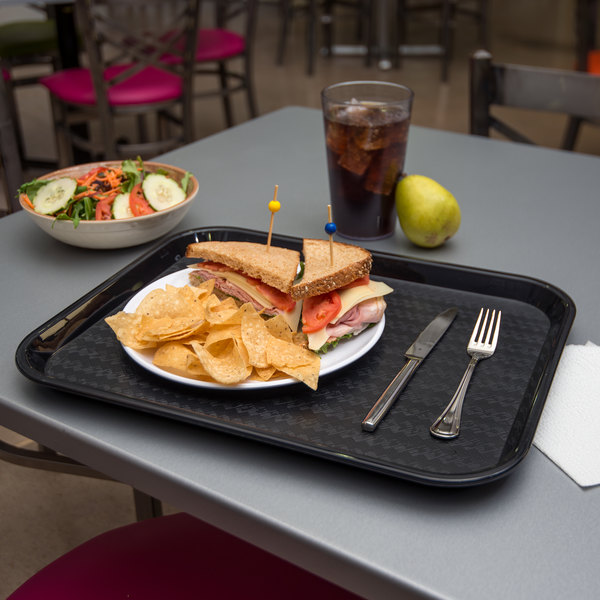 "Carlisle CT141803 Customizable Cafe 14"" x 18"" Black Standard Plastic Fast Food Tray - 12/Case"