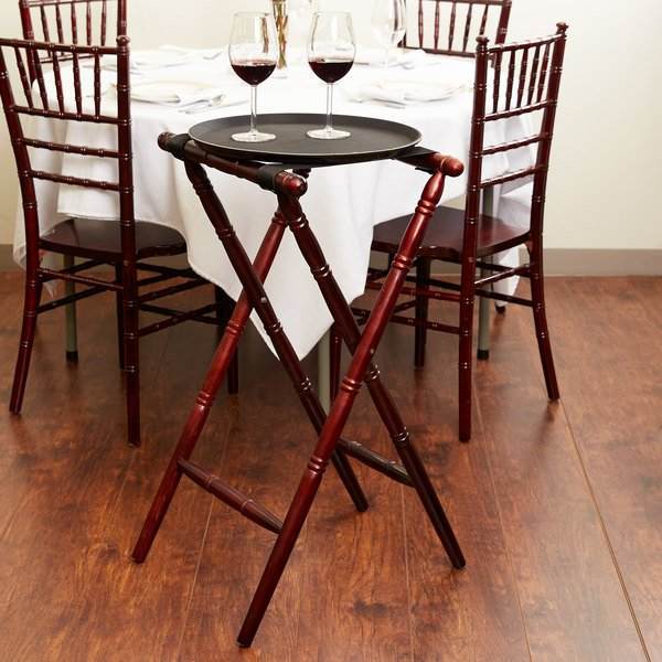 """Lancaster Table & Seating Red Brown 17 1/2"""" x 16 1/2"""" x 32"""" Folding Turned Leg Tray Stand Chic Wood"""