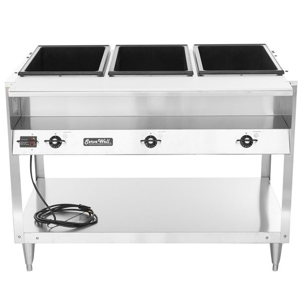 Vollrath 38117 ServeWell Electric Three Pan Hot Food Table 208/240V - Sealed Well Main Image 1