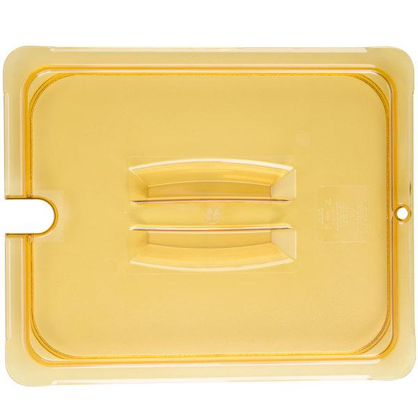 Carlisle 10431U13 StorPlus 1/2 Size Amber Universal High Heat Handled Lid with Spoon Notch
