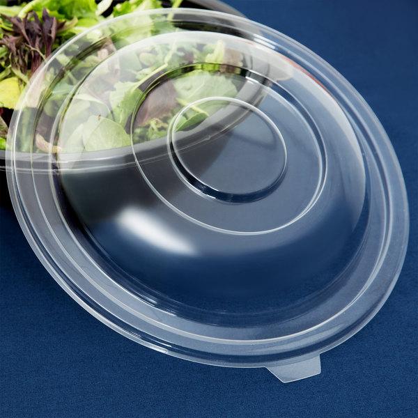 Fineline 5080-L Super Bowl Clear PET Plastic Dome Lid for 80 oz. Bowls - 5/Pack