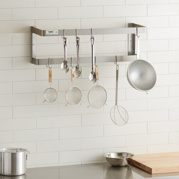 """Regency 36"""" Stainless Steel Wall Mounted Double Line Pot Rack with 18 Galvanized Double Prong Hooks"""