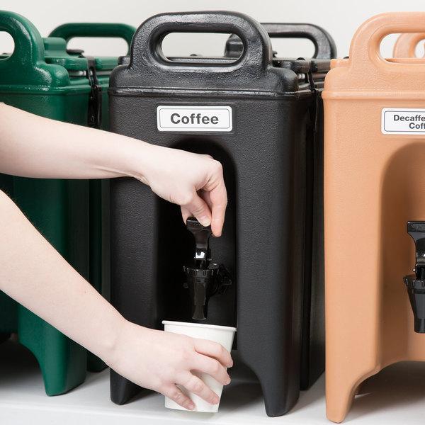 Cambro 250LCD110 Camtainer 2 5 Gallon Black Insulated Beverage Dispenser