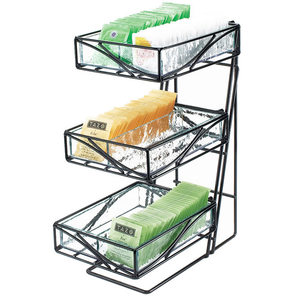 Cal-Mil 1235-TEA Glacier Three Tier Tea Center Display with Faux Glass Bins Main Image 1