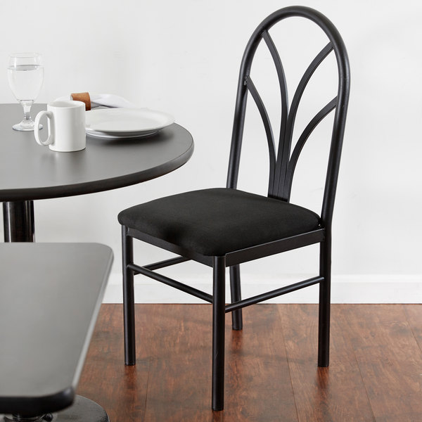 "Lancaster Table & Seating Black 4 Spoke Restaurant Dining Room Chair with 1 3/4"" Padded Seat"