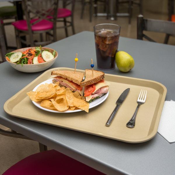 "Carlisle CT141806 Customizable Cafe 14"" x 18"" Beige Standard Plastic Fast Food Tray - 12/Case"