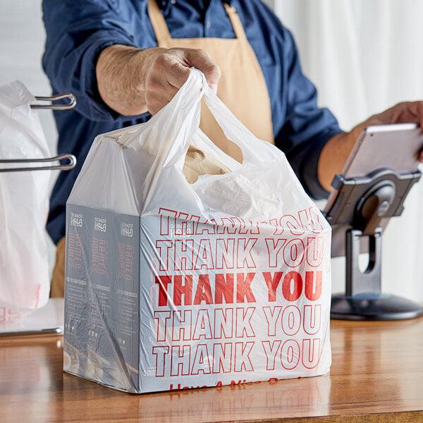 "Choice 1/6 Size White ""Thank You"" Plastic T-Shirt Bag - 700/Case Main Image 2"