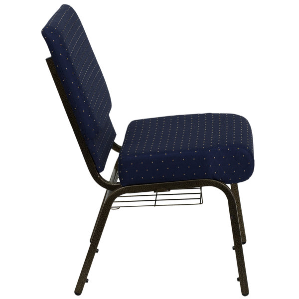 """Flash Furniture FD-CH0221-4-GV-S0810-BAS-GG Navy Blue Dot Patterned 21"""" Extra Wide Church Chair with Communion Cup Book Rack - Gold Vein Frame"""