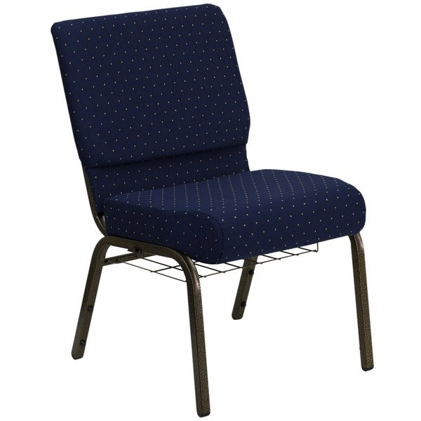 "Flash Furniture FD-CH0221-4-GV-S0810-BAS-GG Navy Blue Dot Patterned 21"" Extra Wide Church Chair with Communion Cup Book Rack - Gold Vein Frame Main Image 1"