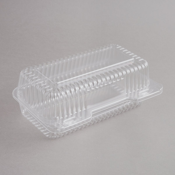 Durable Packaging PXT-395 Duralock 9 inch x 5 inch x 3 inch Clear Hinged Lid Plastic Container - 250/Case