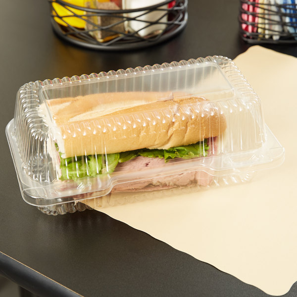 "Durable Packaging PXT-395 Duralock 9"" x 5"" x 3"" Clear Hinged Lid Plastic Container - 250/Case"