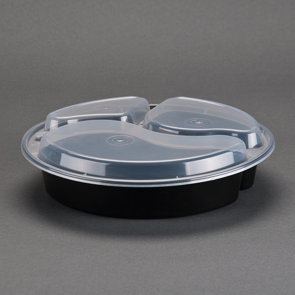 Newspring NC-9388-B Black 39 oz. VERSAtainer 9 inch x 1 1/2 inch Round Microwavable 3 Compartment Container with Lid 150/Case