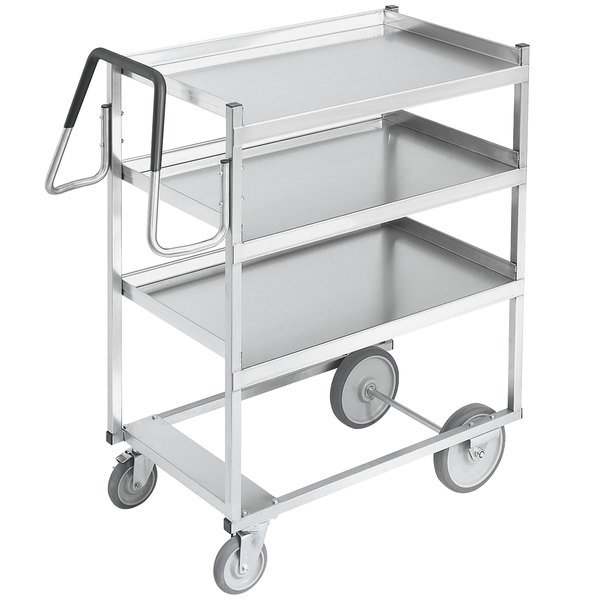 "Vollrath 97201 Heavy-Duty Stainless Steel 3 Shelf Utility Cart - 39"" x 20"" x 44 1/2"" Main Image 1"