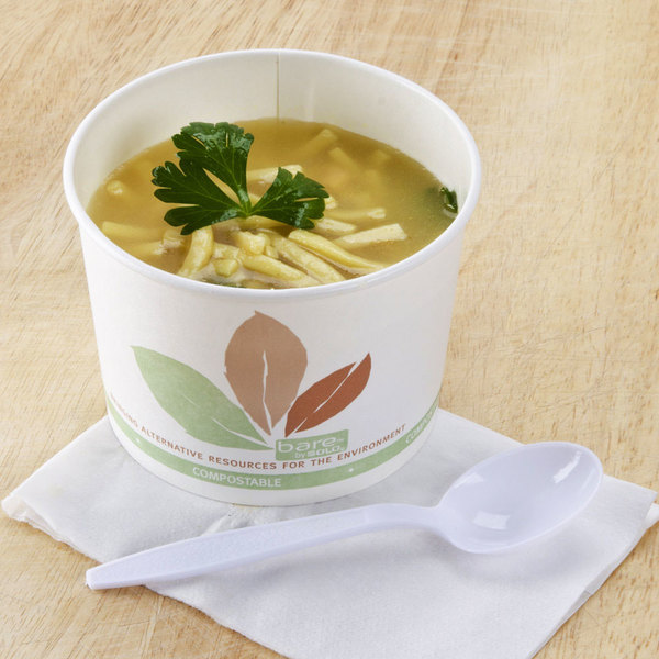 Bare by Solo V516PL-JF522 Leaf Print 16 oz. Eco-Forward Paper Soup / Hot Food Cup - 500/Case Main Image 2