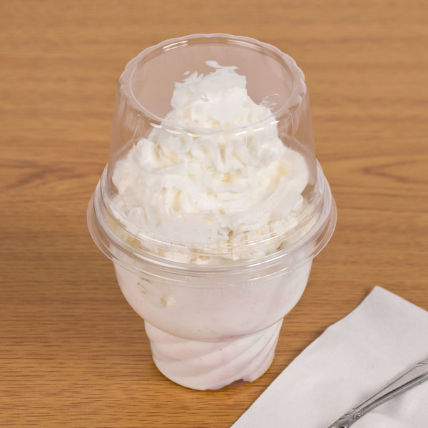 WNA Comet LHCDPET 5, 8, 12 oz. Clear Plastic Dome Lid for Classic Sundae Cups - 1000/Case Main Image 2
