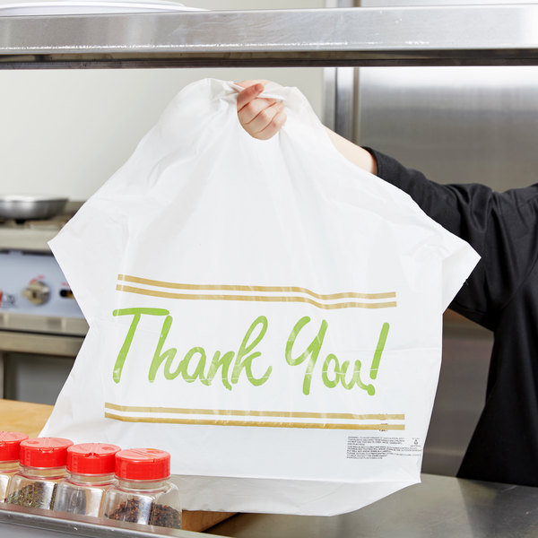 "Plastic ""Thank You"" 24"" x 11"" x 20"" Take Out Bag with Wave Handle - 250/Box"