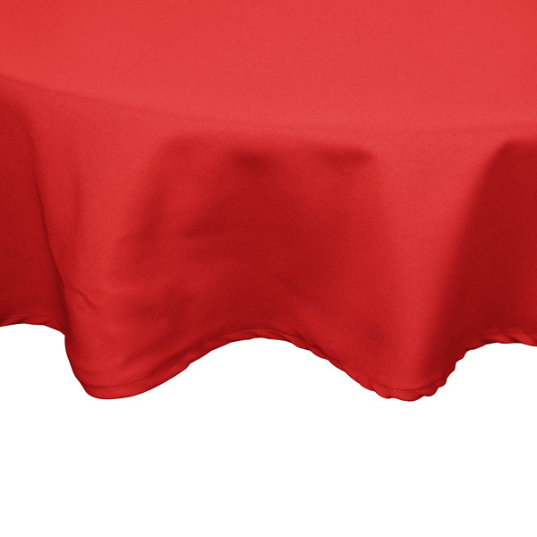 """54"""" Red Round Hemmed Polyspun Cloth Table Cover"""