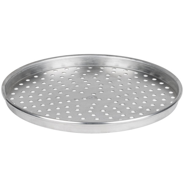 """American Metalcraft PHA90161.5 16"""" x 1 1/2"""" Perforated Heavy Weight Aluminum Tapered / Nesting Pizza Pan"""