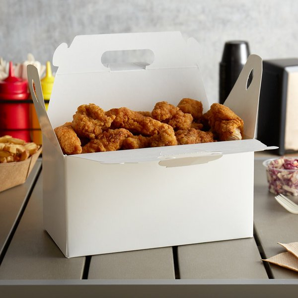"""Customizable 9 1/2"""" x 5"""" x 5"""" White Barn Take Out Lunch Box / Chicken Box - 125/Case Main Image 2"""