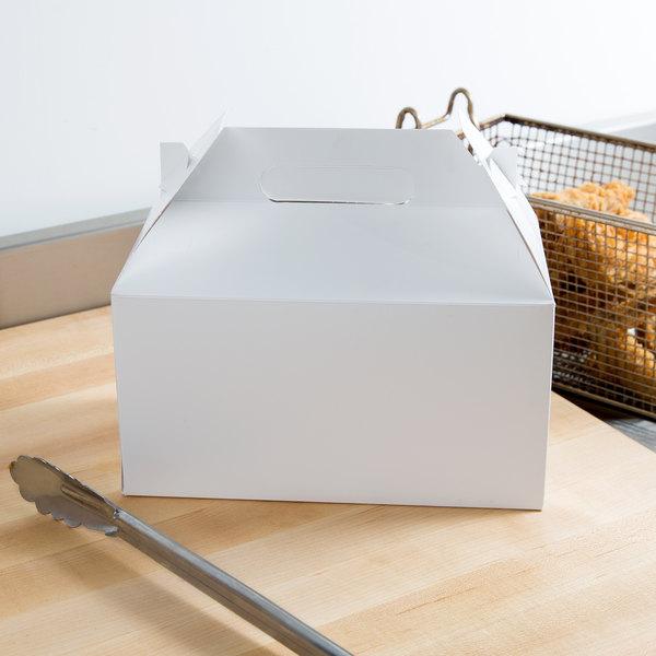 "Southern Champion 2707 9 1/2"" X 5"" X 5"" White Barn Take Out Lunch Box / Chicken Box - 125/Case"