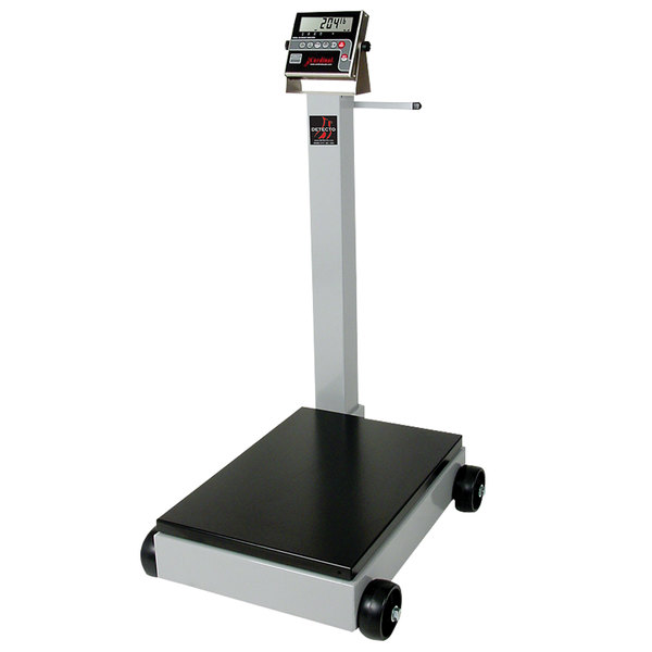 Cardinal Detecto 5852F-205 500 lb. Portable Digital Floor Scale with Tower Display, Legal for Trade Main Image 1