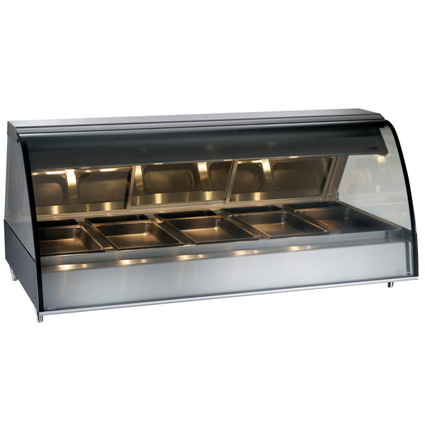 "Alto-Shaam TY2-72/PL BK Black Countertop Heated Display Case with Curved Glass - Left Self Service 72"" Main Image 1"