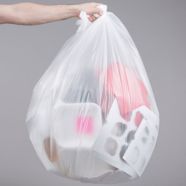 """55 Gallon 22 Micron 38"""" x 60"""" Lavex Janitorial High Density Can Liner / Trash Bag - 150/Case Main Image 3"""