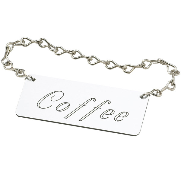 "Cal-Mil 618-1 Silver ""Coffee"" Urn Chain Sign"