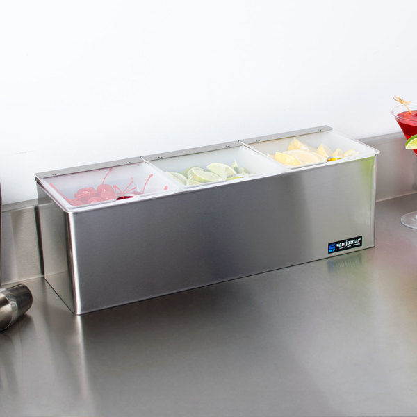 San Jamar B6183INL EZ-Chill 3-Compartment Stainless Steel Condiment Bar with Split Notched Lids