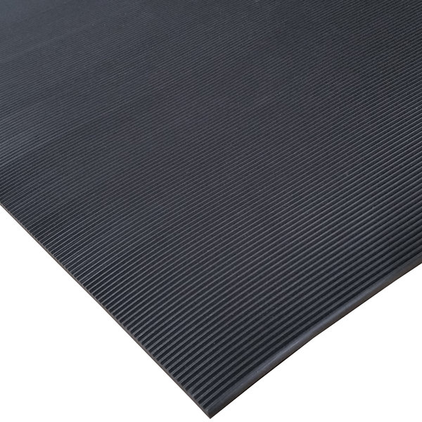 """Cactus Mat 1050R-C3 ASTM 3' Wide Corrugated Black Switchboard Runner Mat - 1/4"""" Thick"""