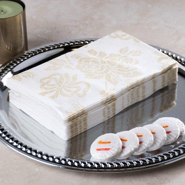 """Hoffmaster 856520 Linen-Like 12"""" x 17"""" Gold Prestige 1/6 Fold Guest Towel - 500/Case"""