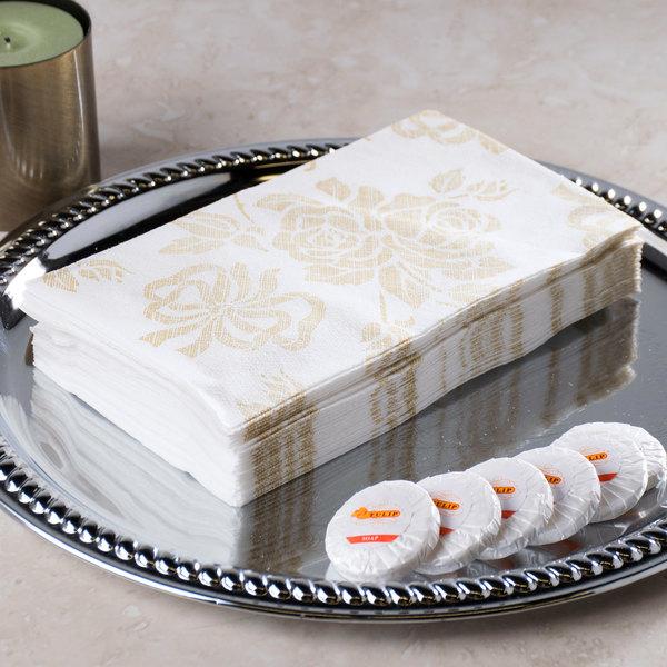 "Hoffmaster 856520 Linen-Like 12"" x 17"" Gold Prestige 1/6 Fold Guest Towel - 500/Case Main Image 5"
