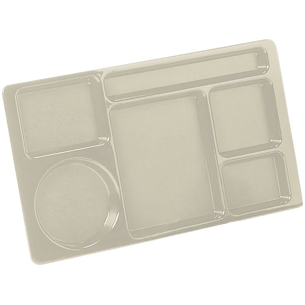 """Carlisle 61525 Space Saver 8 3/4"""" x 15"""" Tan ABS Plastic 6 Compartment Tray"""