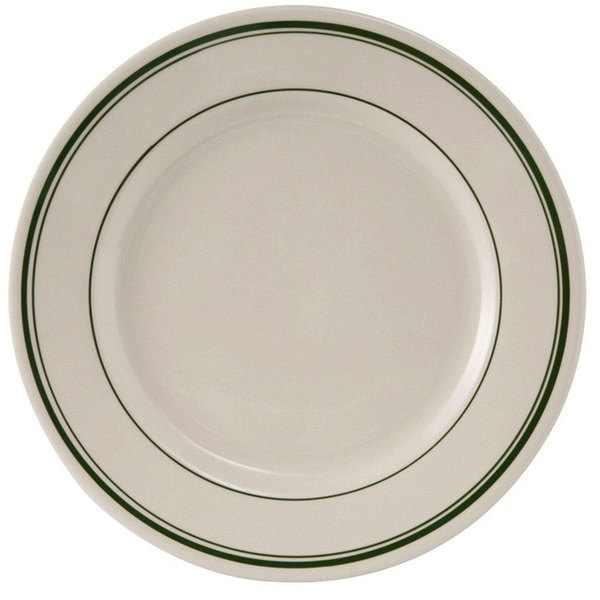 "Tuxton TGB-006 Green Bay 6 5/8"" Wide Rim Rolled Edge China Plate - 36/Case"