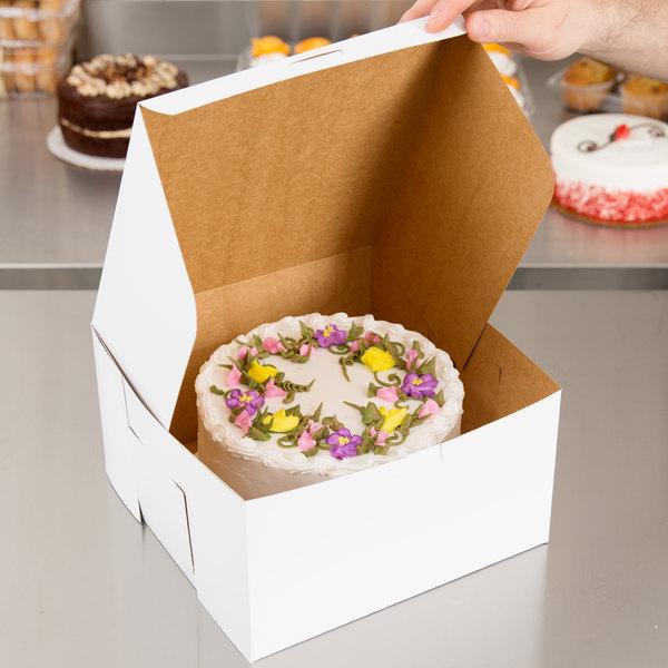 """Southern Champion 0977 10"""" x 10"""" x 5 1/2"""" White Cake / Bakery Box - 100/Bundle"""
