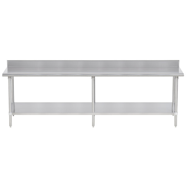 """Advance Tabco KSS-249 24"""" x 108"""" 14 Gauge Work Table with Stainless Steel Undershelf and 5"""" Backsplash"""