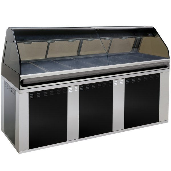 "Alto-Shaam EU2SYS-96/PL BK Black Cook / Hold / Display Case with Curved Glass and Base - Left Self Service, 96"" Main Image 1"