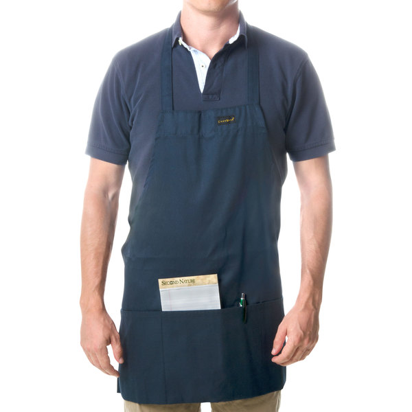 Chef Revival 602BAFH-NV Customizable Professional Front of the House Navy Blue Bib Apron - 28 inchL x 25 inchW